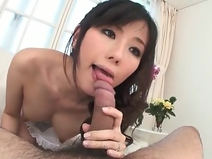 Japanese cocksucker in lingerie is beautiful