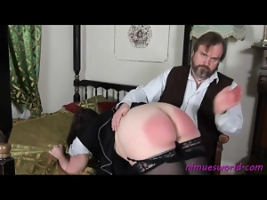 Fat French maid spanked on her sex ass
