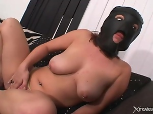 Masked guys double penetrate a sexy teenager
