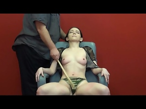 Caning the body of the little titty chick