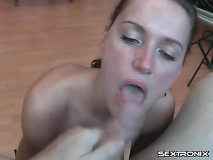 Beautiful amateur sucks a dick from her knees