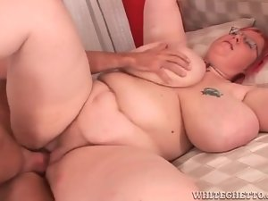Fat bitch in glasses fucked in the pussy