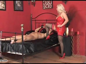 Horny Mistress Lana rides cock and makes her slave cum