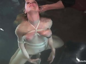 Darling gets pulled by the nipples and downed in a box filled with water