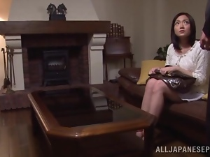 Cute Ari Ariga poses for the camera and gets pounded on a sofa