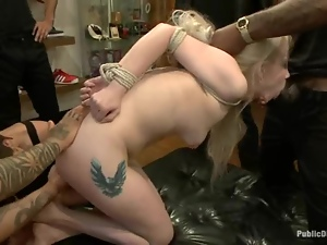 Ranie Mae gets fucked by a group of men in a footwear shop