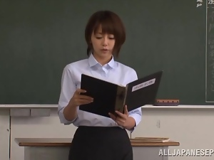 Japanese style gangbang scene with a sexy teacher