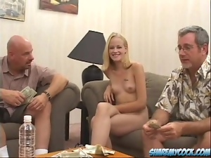 Two Old Men Banging the Blonde Sisters The Milton Twins in Foursome