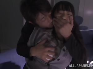 Japanese bitch gets her mouth and pussy fucked hard in an office