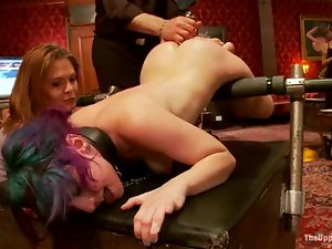 Three horny chicks are being tortured and forced to go lesbian