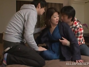 Horny Japanese MILF gets fucked by yoga instructors