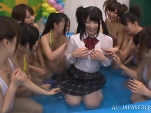 Kinky Japanese teens have lesbian fun at pool party