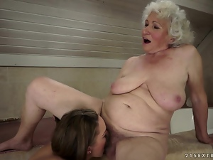 Kinky Teen and Horny Grandma Licking Pussy in Lesbian Video