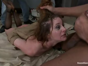 kinky bitch gets massive facial after rough sex with four guys