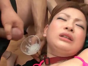 Asian cutie gets rubbed in group