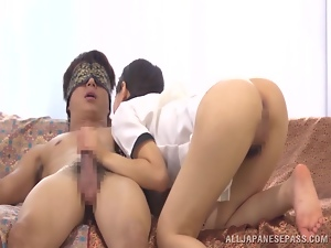 Curvy Japanese nurse is jumping on a hard cock