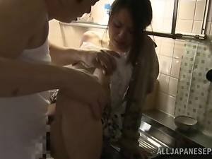 Sexy Mina Kanamori gets nailed in a kitchen by older guy