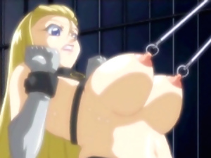 Chained hentai gets big juicy tit nipples pinched