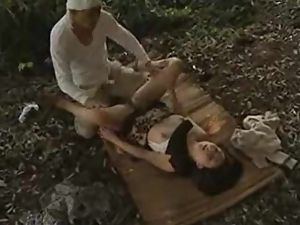 Asian bitch gets a chance to suck and ride a cock in a forest