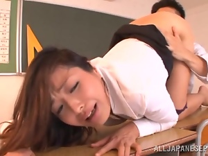 Miwako Yamamot enjoys a hard cock in her tight Japanese coochie