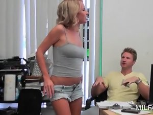 Sweet blonde MILF on heels getting her sexy assets teased