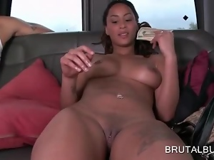 Naked sexy babe gets paid for sex in the bus