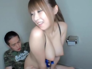 Hitomi & her perky dairy pillows get a freaky fuck