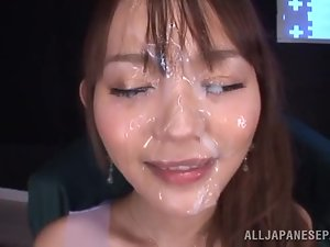Emiri Okazaki gets fucked and facialed by two guys