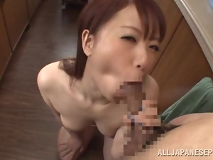 POV Blowjob for Cum in Her Mouth in the Kitchen by Japanese Riri Ouka