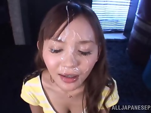 Emiri Okazaki gives a hot footjob and gets facialed