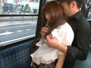 Japanese student Rina Rukawa gets fucked in an empty bus