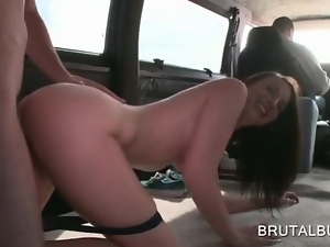 Bus hottie getting cunt nailed doggy style on the floor