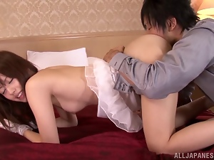 Adorable Japanese milf Rina Rukawa enjoys some ardent indoor banging