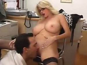 Busty blonde gets her pussy licked and fucked by her boss
