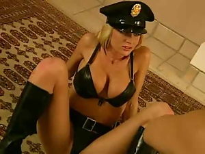 Blonde girl in sexy police uniform gets pounded on the floor