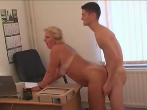 Fat mature blonde gets fucked by younger colleague