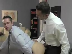 Boss and his employee have hot gay sex in the office