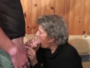 Filthy granny is enjoy some hard doggy style