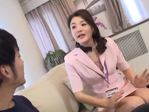 Japanese milf gives a blowjob and gets cum on her hands