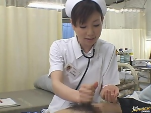 Cute Japanese Nurse Gives A Patient A Skillful Handjob