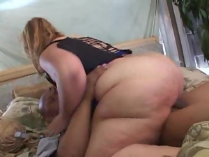 Mature fattie Monique gets her ass oiled and pounded hard
