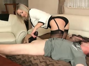 Horny mature lady rubs that cock with her hands and toes