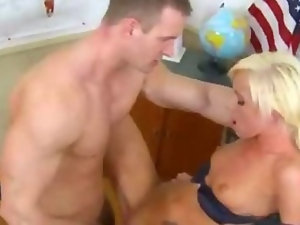 Tall blonde cutie fucks