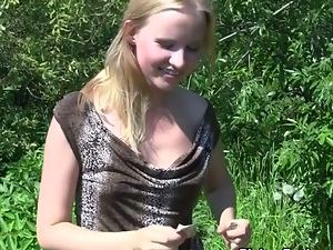 blonde in pantyhose fuck in the park in front of passers-by