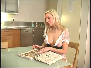 Sheer French maid outfit is sexy on blonde girl