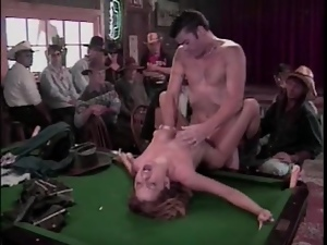 Hardcore sex in the cowboy bar with an audience