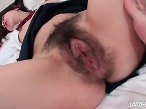 Schoolgirl in pigtails takes creampie in cunt