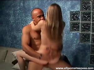 Slim young slut sits on dick and sucks it too