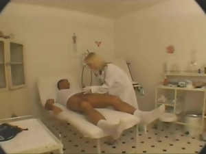 Lady doctor in latex gloves fucked in pussy