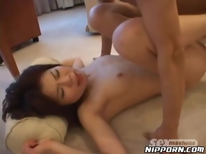 Skinny young lady undresses for Japanese sex